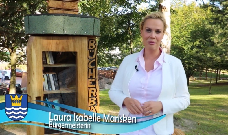 Die Bürgermeisterin von Heringsdorf, Laura Isabelle Marisken, spricht in einem Video